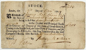 South Sea Bubble: South Sea Company Stock Certificate