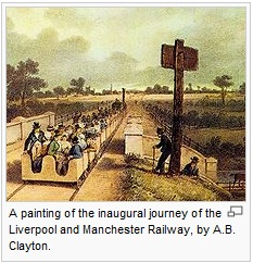 British Railway Mania Bubble: A painting of the inaugural journey of the Liverpool and Manchester Railway